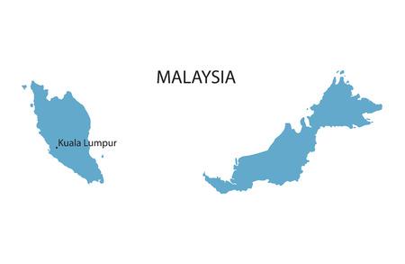 carte bleue de Malaisie avec indication Kuala Lumpur Illustration