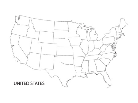 black and white vector map of the United States of America