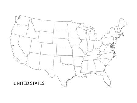 zwart-witte vector kaart van de Verenigde Staten van Amerika Stock Illustratie
