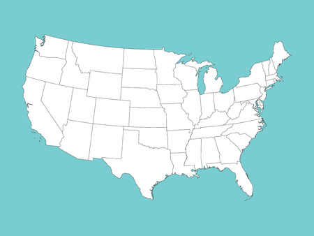 White vector map of the United States of America on blue background Ilustração