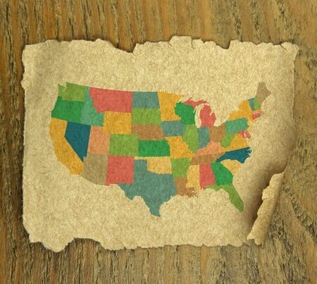 territorial: United States map on vintage paper texture Stock Photo