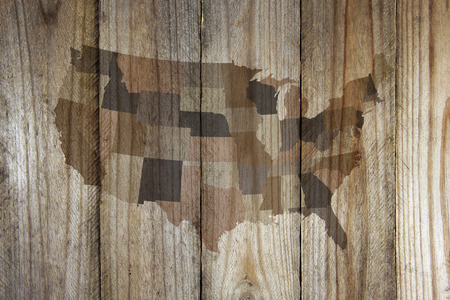 United States map on wooden background 免版税图像