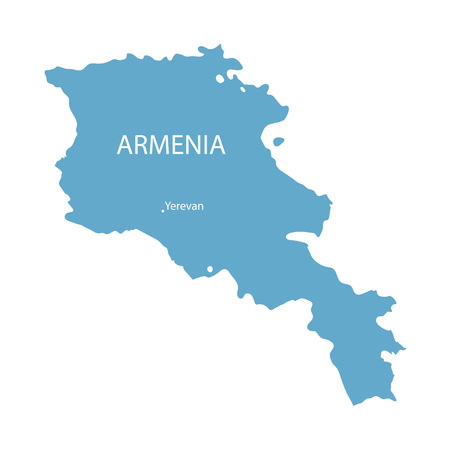 map of armenia: blue map of Armenia with indication of Yerevan Illustration