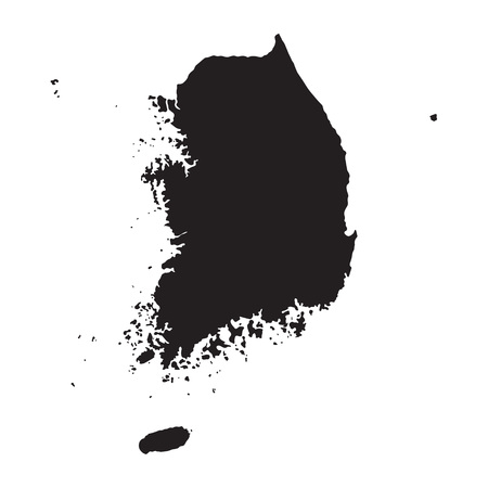 korea: Black map of South Korea