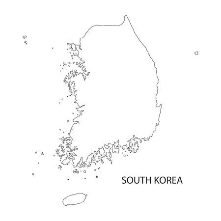 outline map of South Korea 일러스트