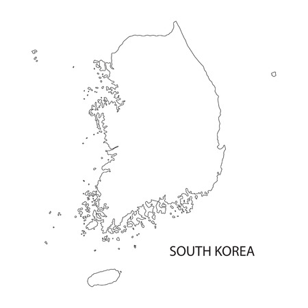 outline map of South Korea Illusztráció