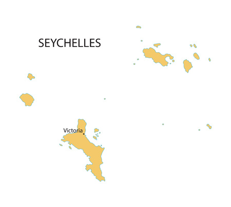seychelles: yellow vector map of Seychelles with indication of Victoria
