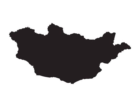 mongolia: Black map of Mongolia
