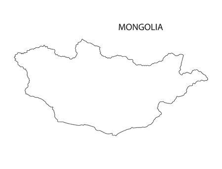 mongolia: outline maps of Mongolia Illustration