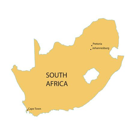 capital cities: vector map of South Africa with indication of Capital Cities Illustration