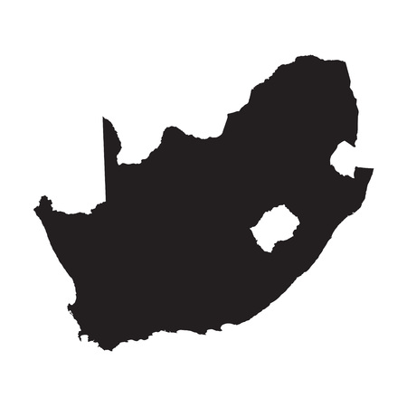 and south: Black vector map of South Africa