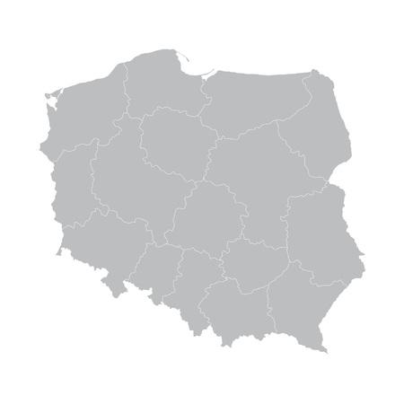 gray vector map of Poland