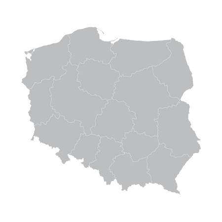gray vector map of Poland