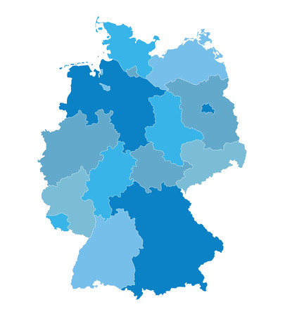 deutschland karte: Blue vector map of Germany all the federal states on separate layers