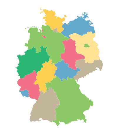 federal states: colorful vector map of Germany all the federal states on separate layers