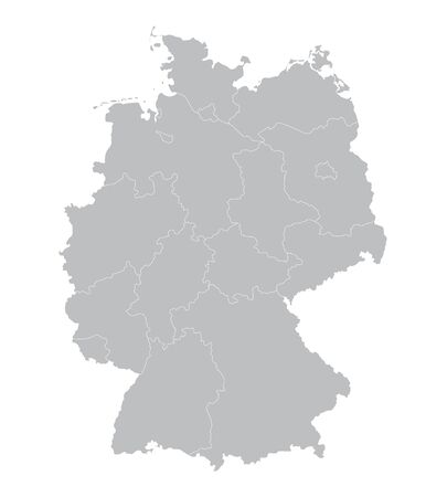 federal states: gray vector map of Germany all the federal states on separate layers