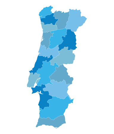 districts: blue map of Portugal districts on separate layers Illustration