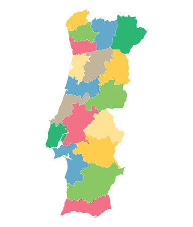 colorful map of Portugal districts on separate layers