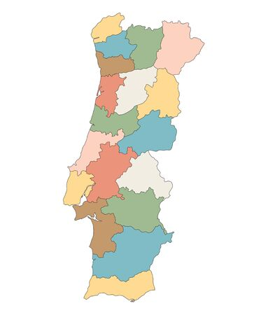 districts: colorful map of Portugal districts on separate layers
