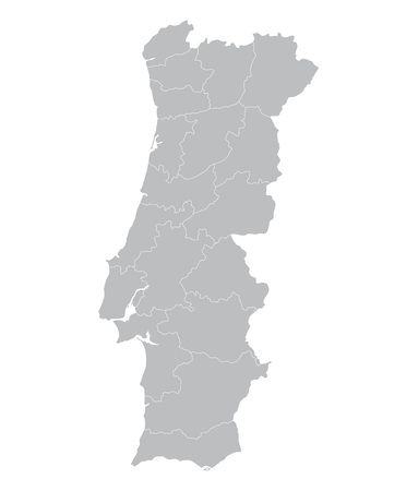 Portugal Map Outline Of Districts On Separate Layers Royalty Free - Portugal map districts
