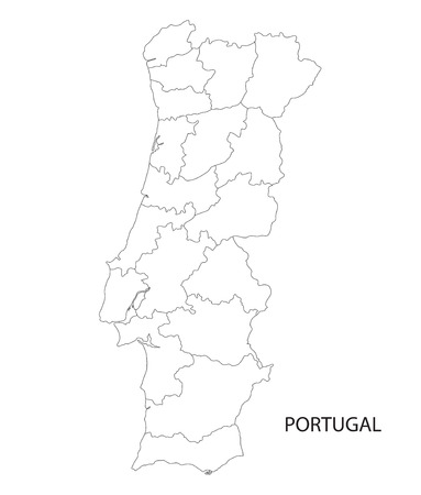 districts: Portugal map outline of districts on separate layers Illustration
