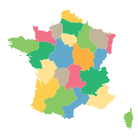 regions: colorful map of France all regions on separate layers Illustration