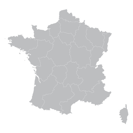 corsica: gray map of France all regions on separate layers Illustration