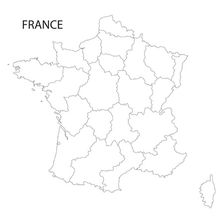 regions: outline of France maps of all regions on separate layers Illustration