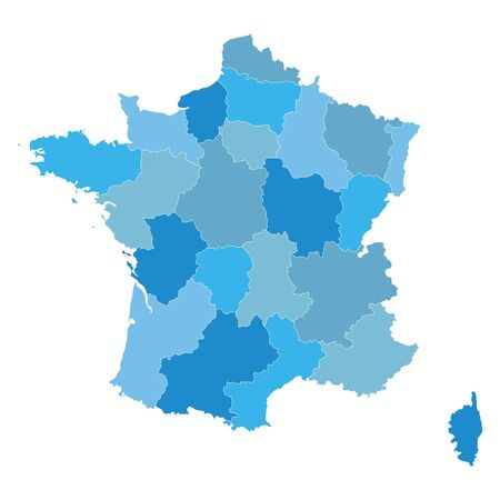 regions: blue map of France all regions on separate layers Illustration