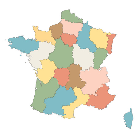corsica: colorful map of France all regions on separate layers Illustration