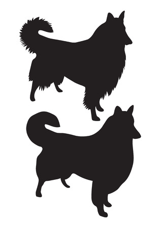 collie: Black vector silhouettes of dogs Collie Rough