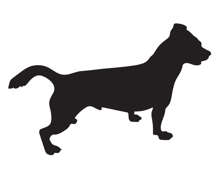 jack russell: black silhouette of a jack russell terrier dog