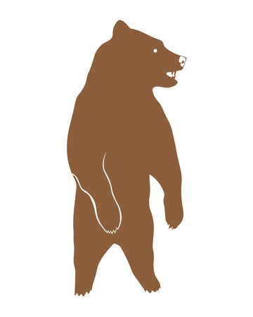 bear silhouette: standing brown bear, vector silhouette Illustration
