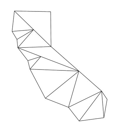 orange county: Black polygonal outline of vector maps of California
