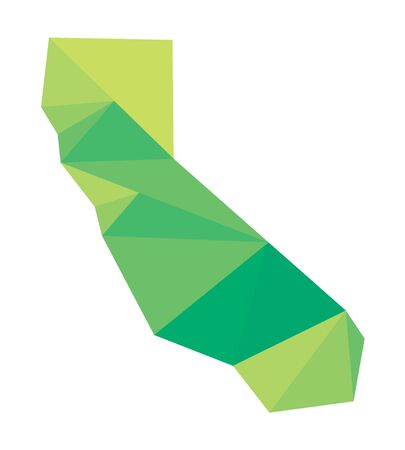 orange county: Green polygonal vector map of California Illustration