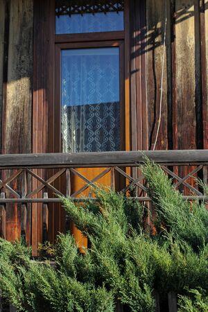 balcony door: balcony door of traditional wooden house