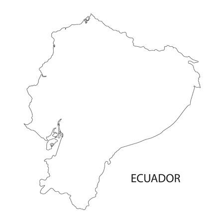 ecuador: black outline of Ecuador maps