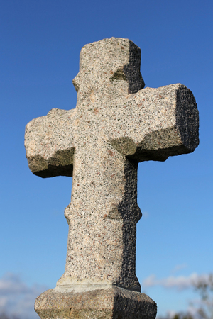 granite: granite cross in cemetery