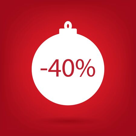 sale sticker: Christmas sale sticker tag 40 percent discount Illustration