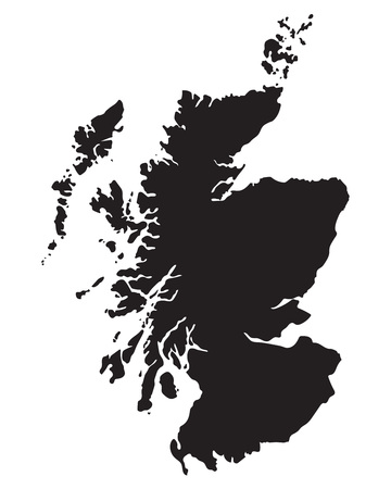 Schwarze Karte von Schottland