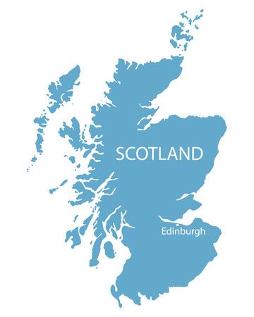 edinburgh: blue map of Scotland with indication of Edinburgh Illustration