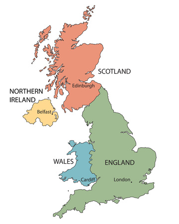 colorful map of countries of the United Kingdom with indication of Capital Cities