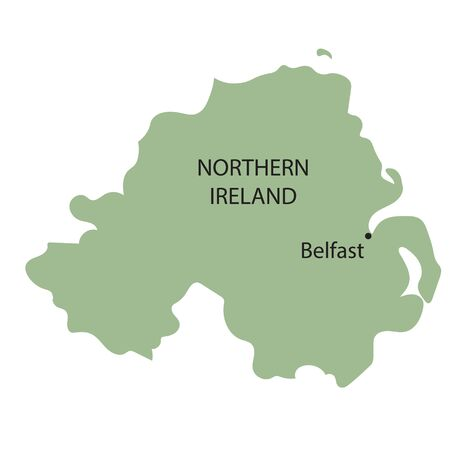 belfast: vector map of Northern Ireland with indication of Belfast