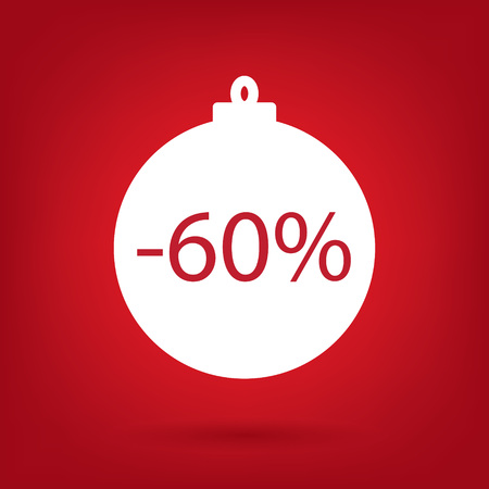 60: Christmas sale sticker tag 60 percent discount