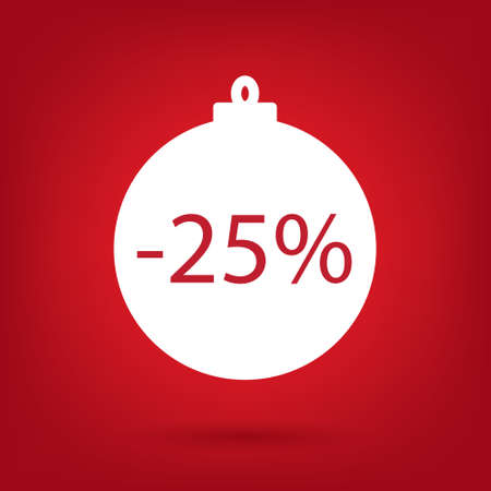 25: Christmas sale sticker tag 25 percent discount Illustration