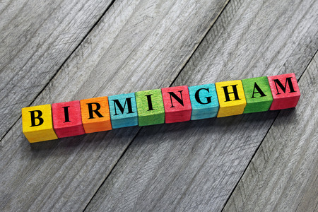birmingham: Birmingham word on colorful wooden cubes Stock Photo