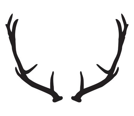 antlers: black silhouette of deer antlers Illustration