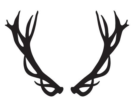 black silhouette of deer antlers Illustration