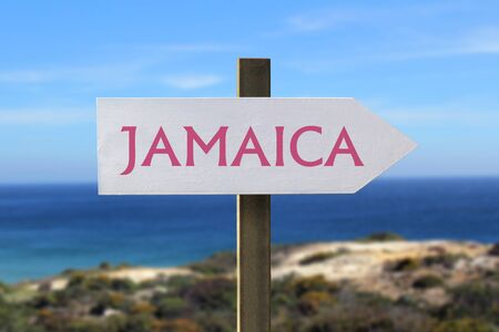 kingston: Jamaica sign with the seashore in the background