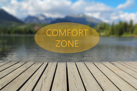alpine zone: Text comfort zone, mountain lake in the background Stock Photo